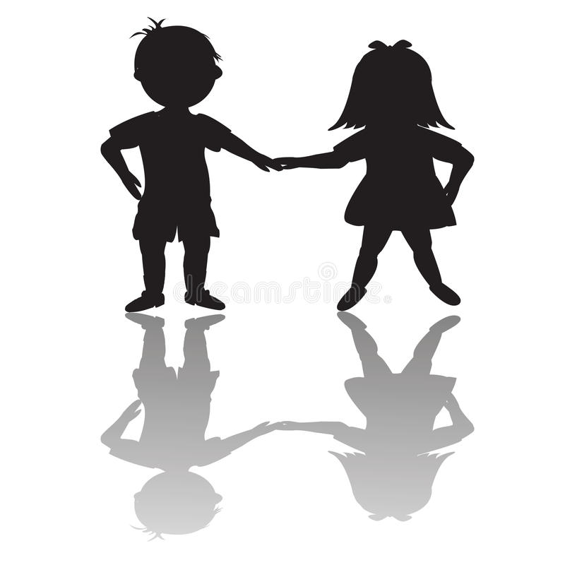 Children silhouettes with shadows royalty free illustration