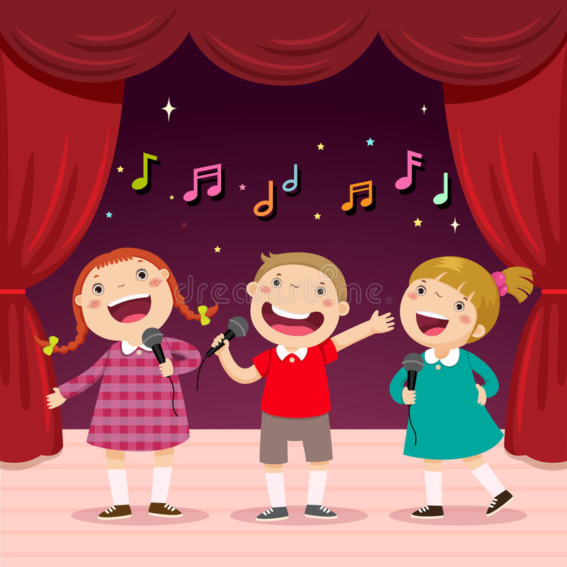 Children sing with a microphone on the stage royalty free illustration