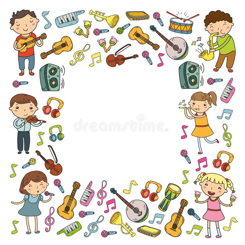 Music school for kids Vector illustration Children singing songs, playing musical instruments Kindergarten Doodle icon royalty free illustration