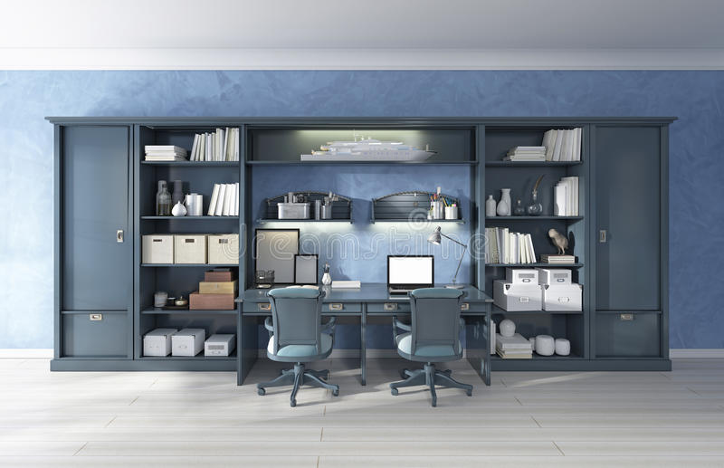 Children& x27; sistema del almacenamiento de los muebles de s con dos escritorios incorporados ilustración del vector