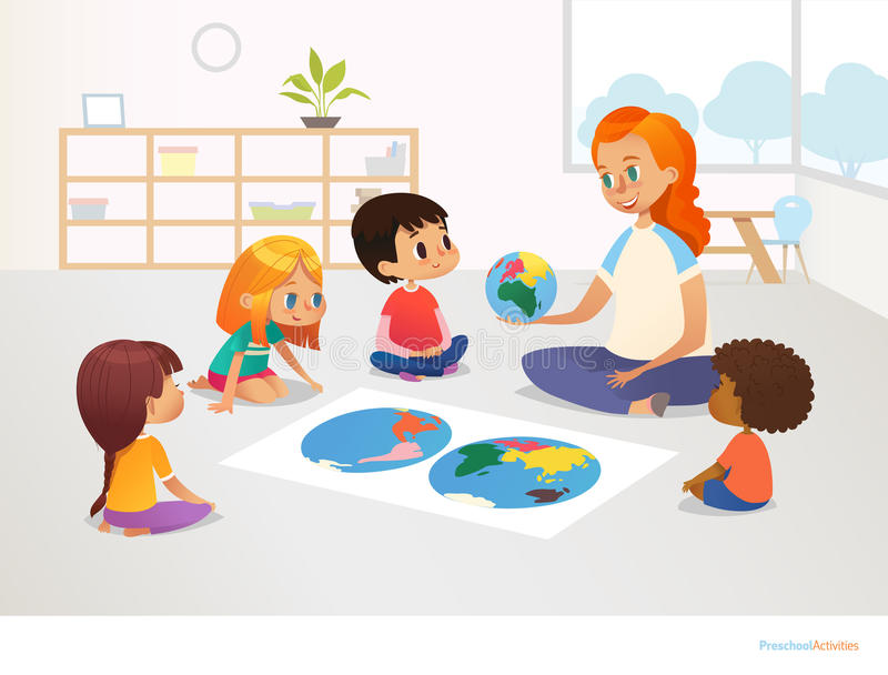 Children sit around world map and redhead female teacher demonstrates them model of planet Earth. Geography lesson. At primary school concept. Vector stock illustration
