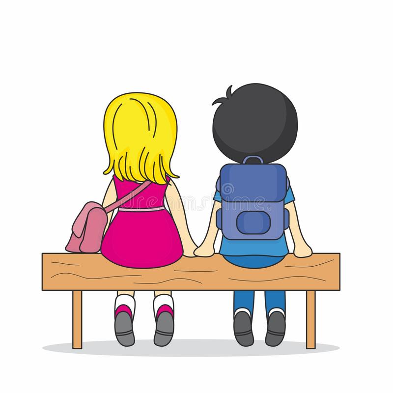 Download Children Sitting On A Bench Stock Vector - Image: 22075632