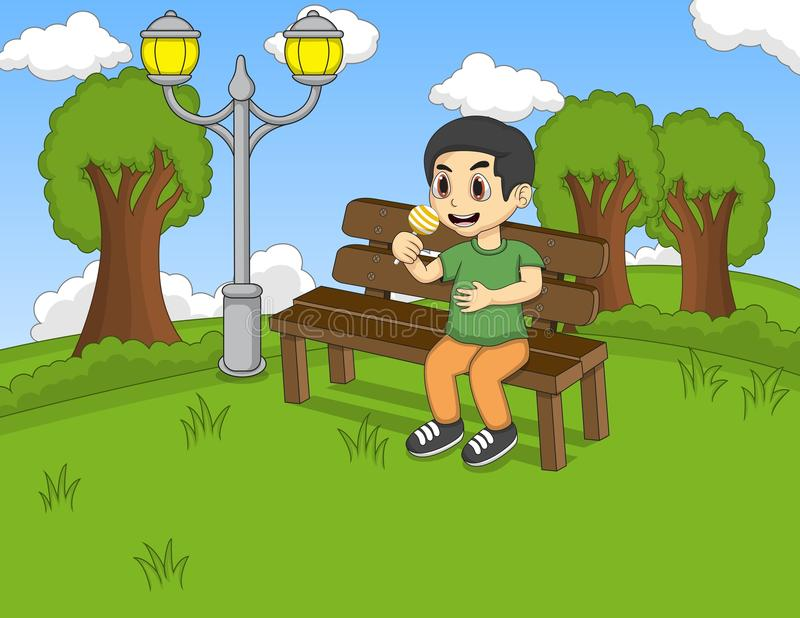 Children Sitting On The Bench At The Park Cartoon Stock