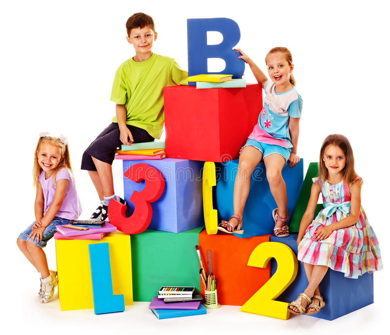 Download Children sitting at cube. stock photo. Image of learn - 38714034