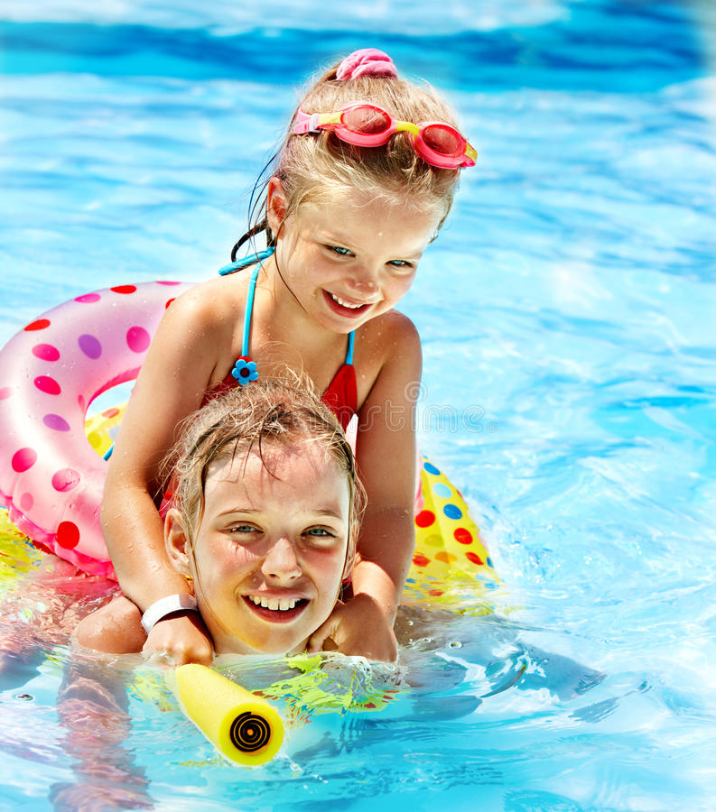 Download Children Sitting On Inflatable Ring. Stock Image - Image of nature, children: 30021301