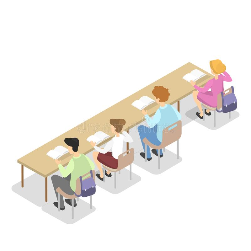 Children sitting in library at the table and read vector illustration