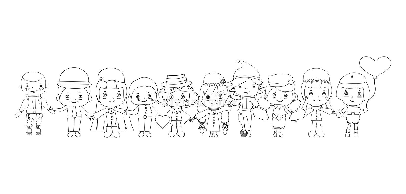Happy Big Family Smiling Together Drawing Sketch Stock