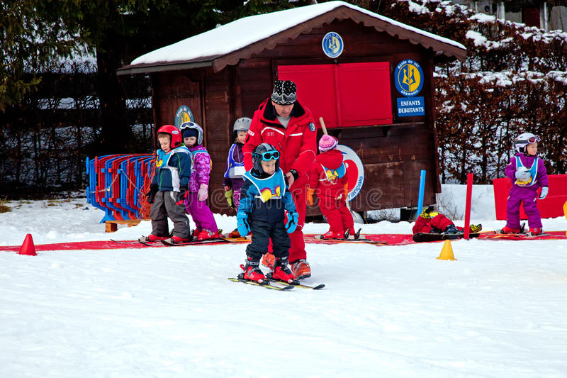 Children ski school royalty free stock images