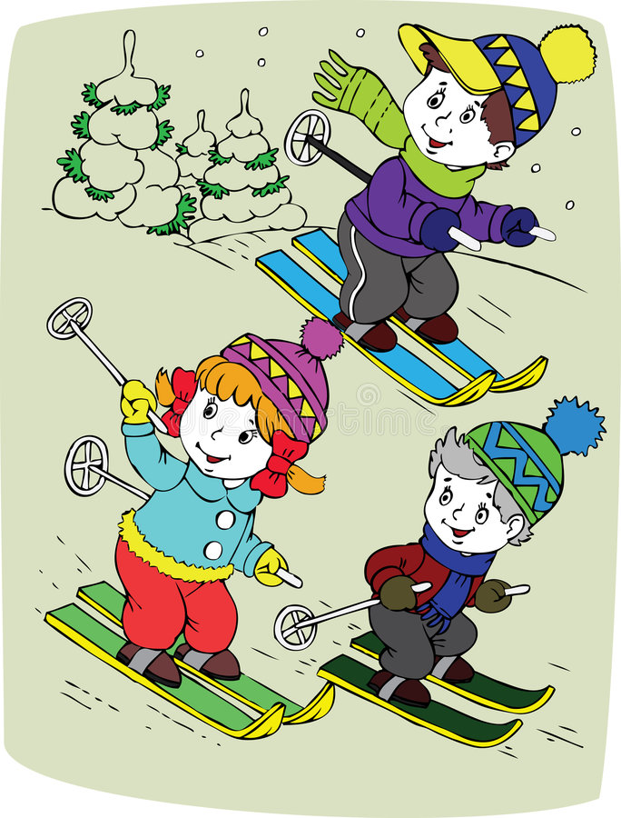 Download Children By Skis Royalty Free Stock Photo - Image: 8149665
