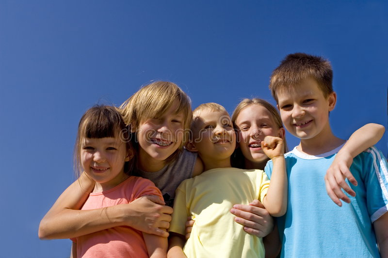 Children on sky royalty free stock photo