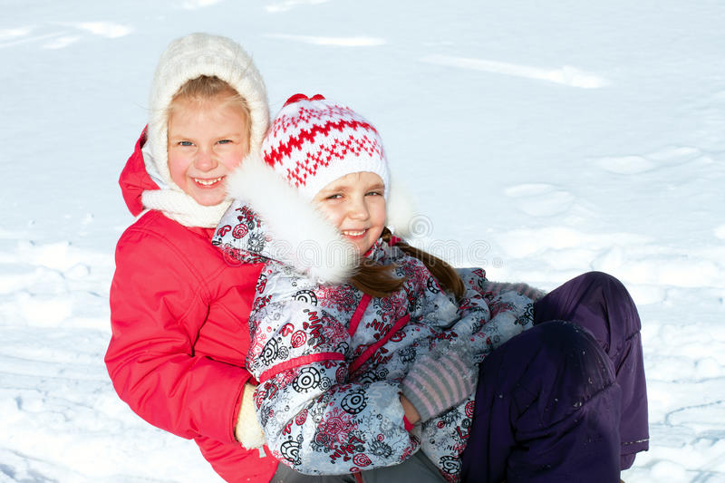 Download Children on sled stock image. Image of sleigh, smile - 37115507