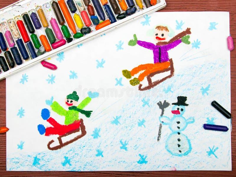 Children sledding down the hill, winter fun stock illustration