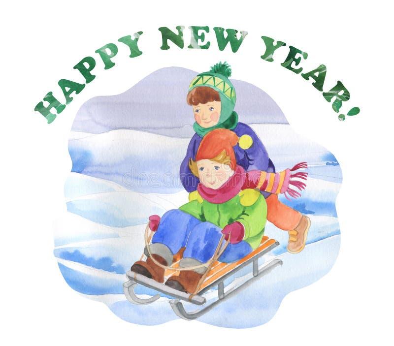 Children are sledding royalty free illustration