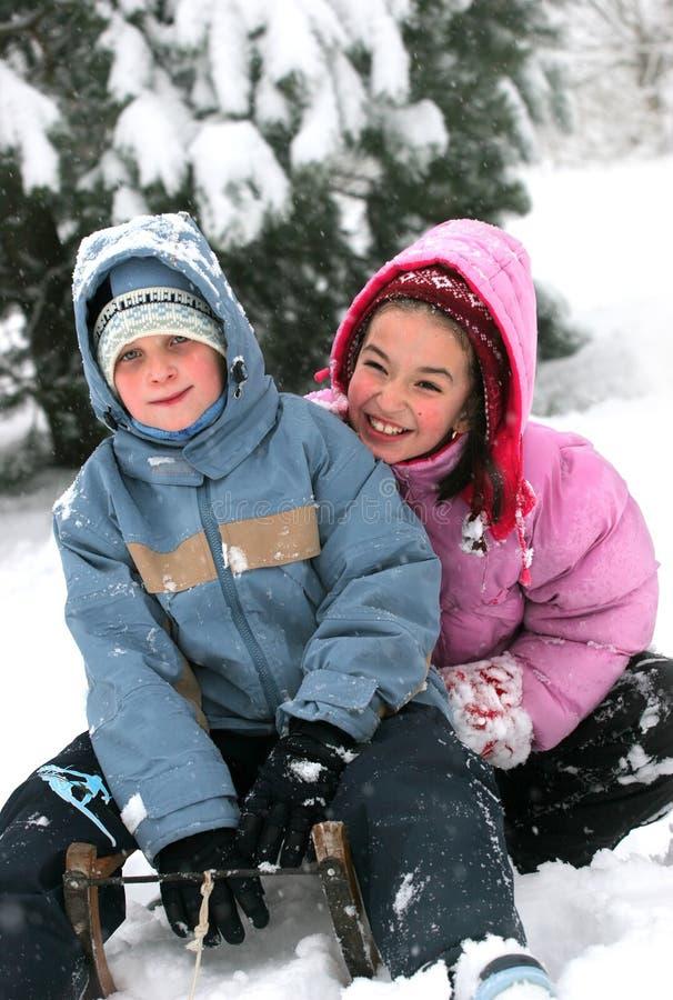 Children on sledge