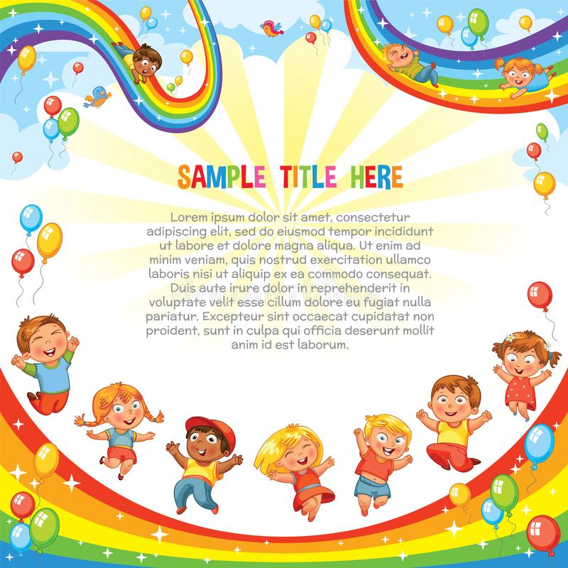 Children slide down on a rainbow. Roller coaster ride. Template. Kids have fun jumping on a rainbow, like on a trampoline. Children slide down on a rainbow royalty free illustration