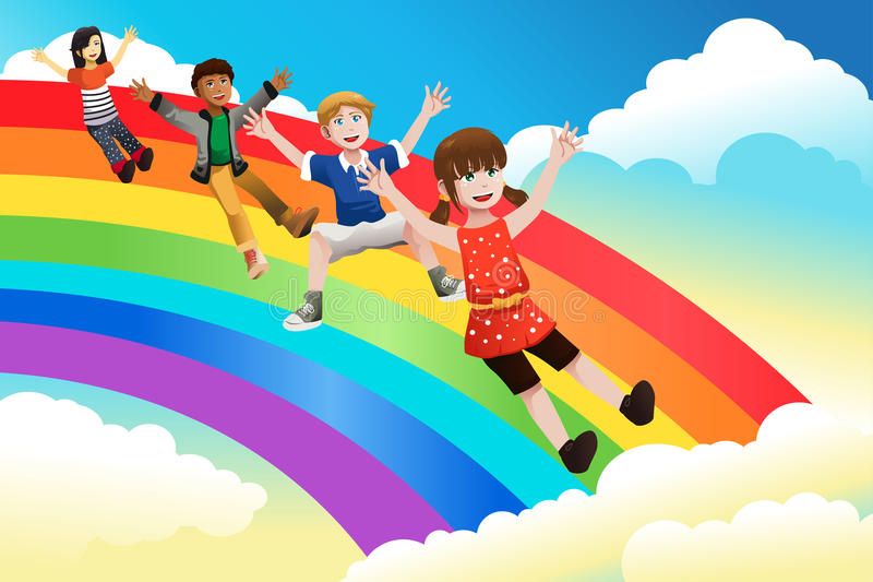Children sliding down the rainbow vector illustration