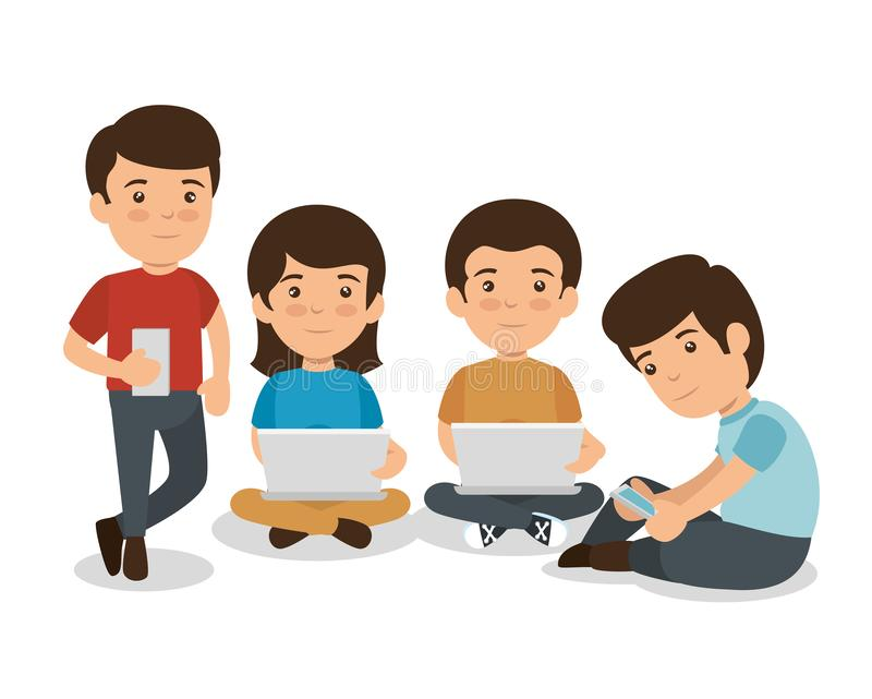 Children with smartphone and laptop education technology royalty free illustration