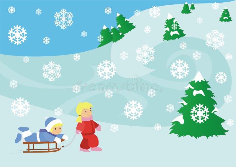 Children in snow stock illustration
