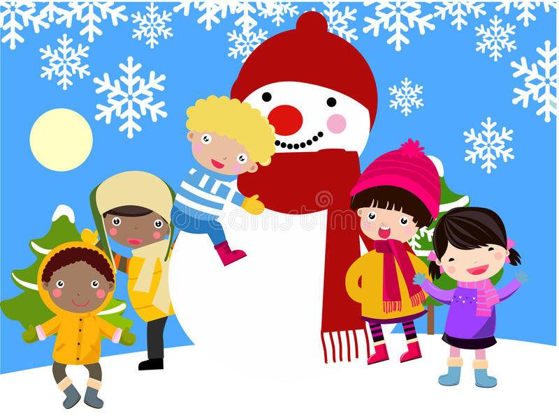 Download Children And Snowman Royalty Free Stock Photos - Image: 12252338