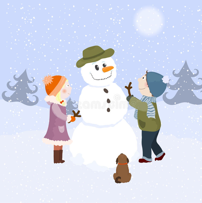 Download Children and snowman stock vector. Image of child, play - 22389244