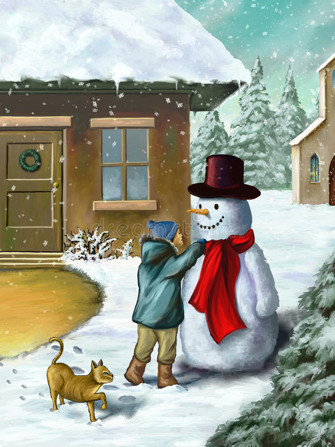 Children and snowman royalty free illustration