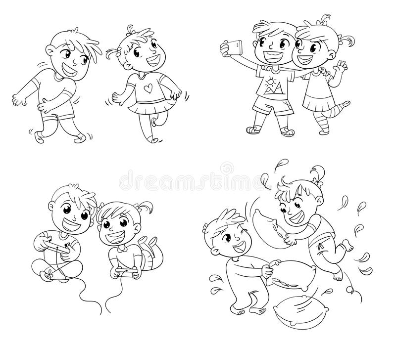 Children spend leisure time fun. Coloring book royalty free illustration