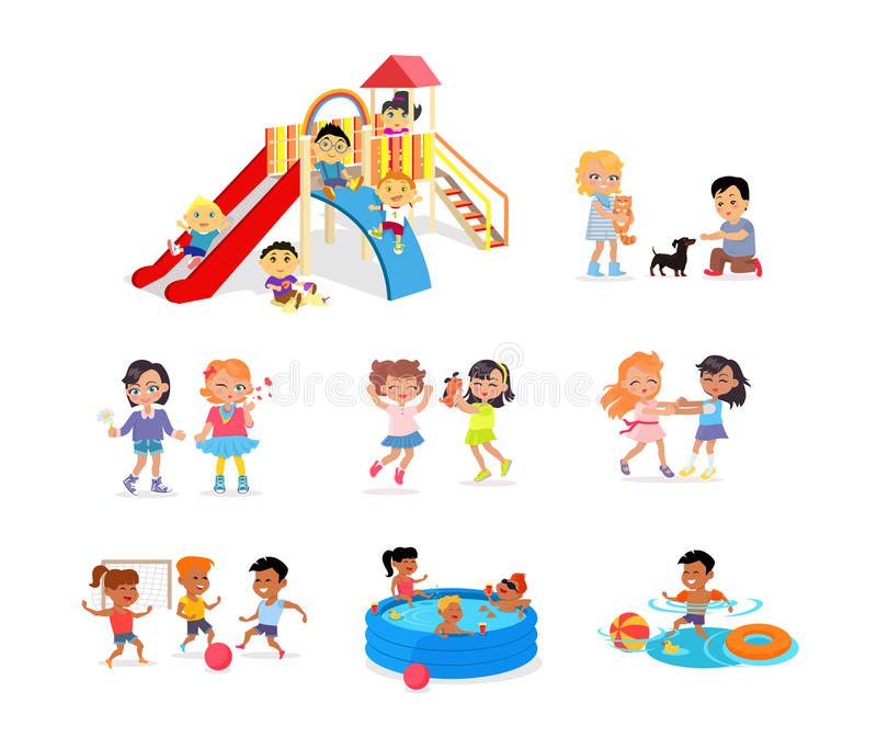Children Spending Time on Playground or in Pool royalty free illustration