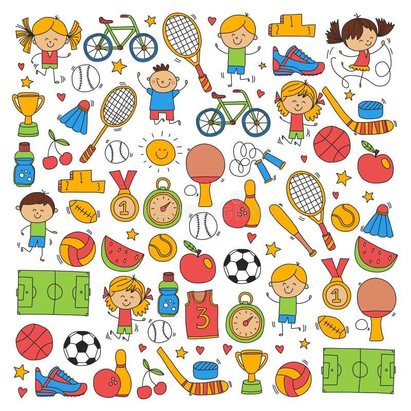 Children sport Fitness Football Volleyball Tennis Basketball Bicycle Running Award Baseball Kids sport for boys and. Girls Vector patterns royalty free illustration