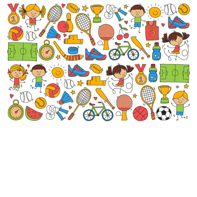 Children sport Fitness Football Volleyball Tennis Basketball Bicycle Running Award Baseball Kids sport for boys and royalty free illustration