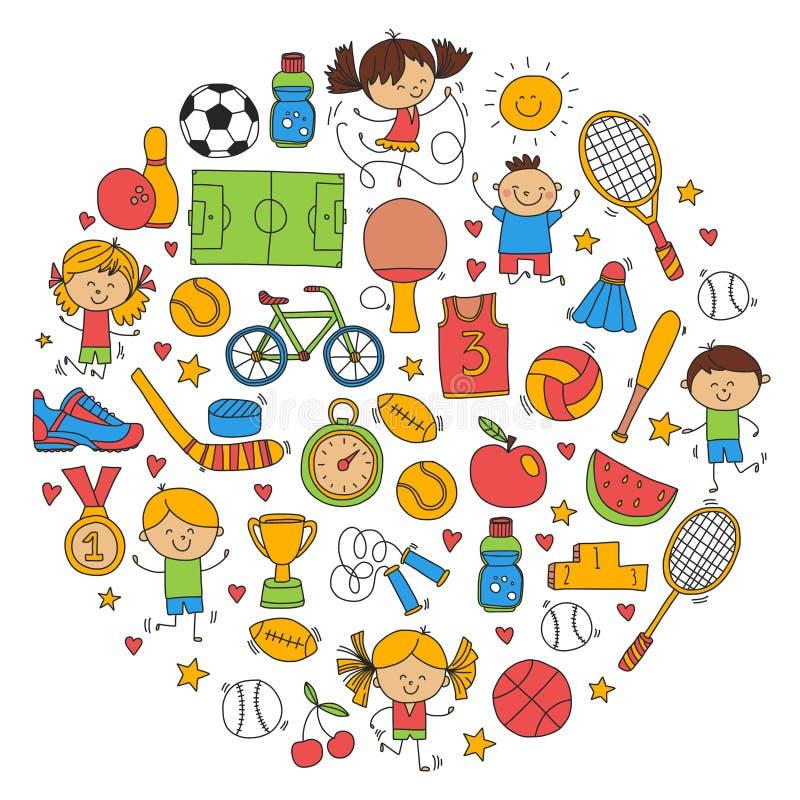 Children sport Fitness Football Volleyball Tennis Basketball Bicycle Running Award Baseball Kids sport for boys and. Girls Vector patterns stock illustration