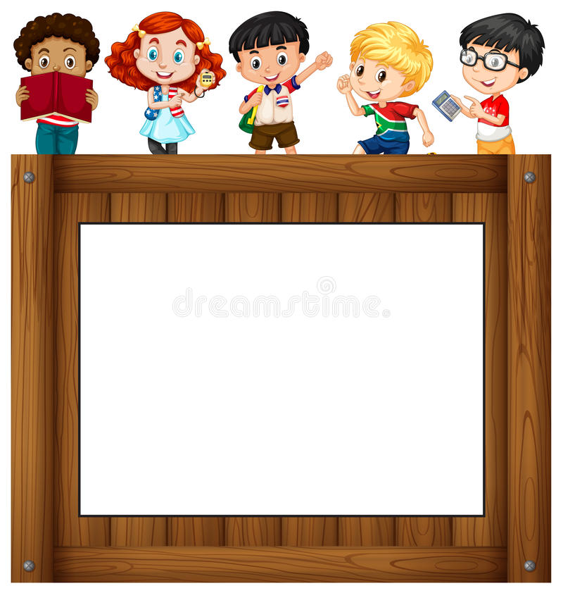 Children standing around the frame stock illustration