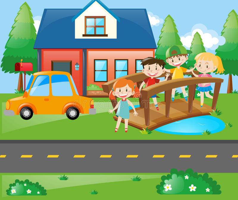 Children standing on the bridge in front of house vector illustration