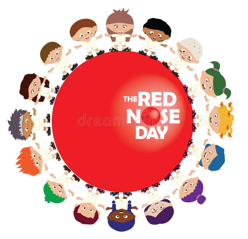 Children standing in circle around Red Nose Day sign. To promote the campaign stock illustration