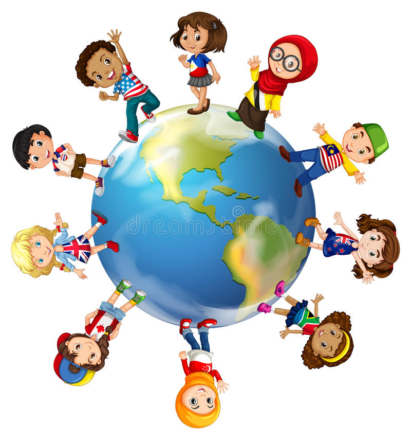 Children standing on globe vector illustration