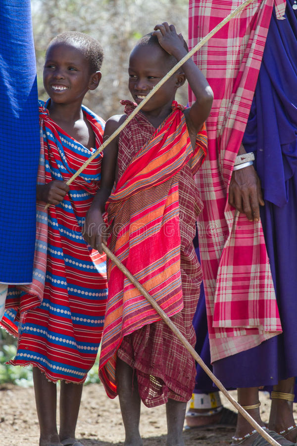 Children standing in line. Photography taken in Arusha, Tanzania stock images