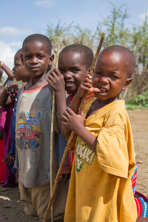 Children standing in line stock image