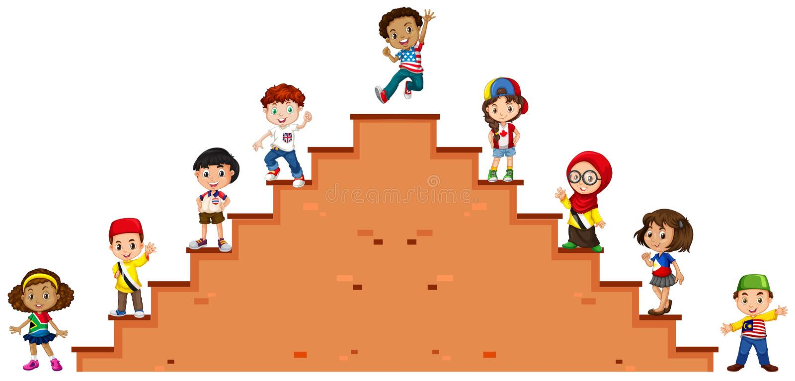 Children standing on the stairs vector illustration