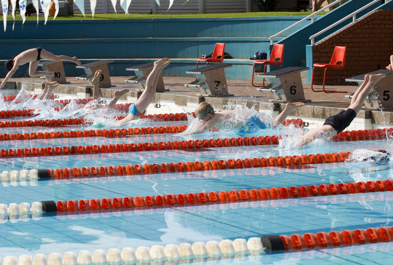 Children starting swim race. Seven children diving into swimming pool to race stock photography
