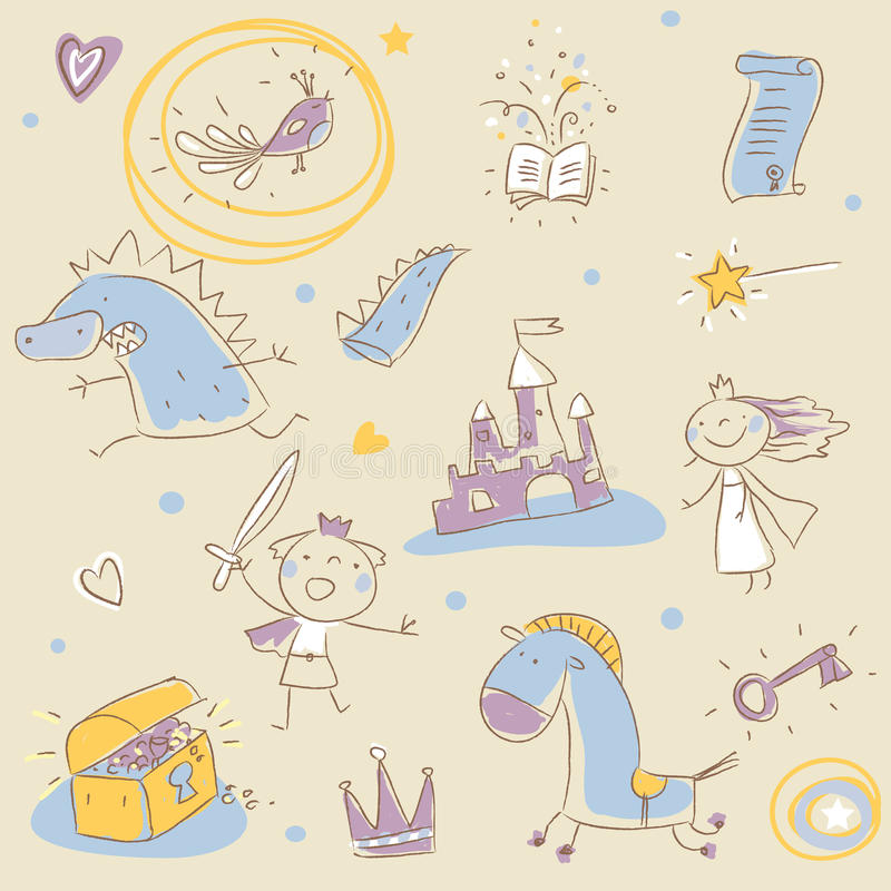 Children story book. Drawing elements stock illustration