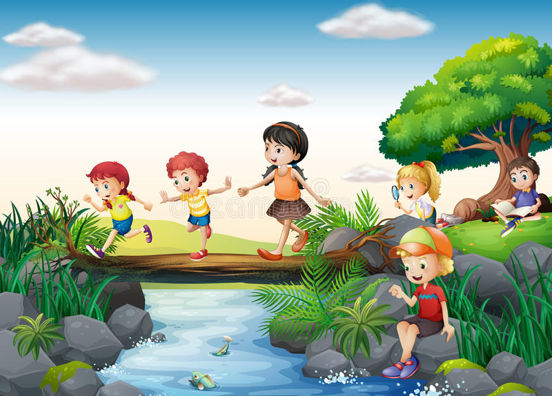 Children and stream. Illustration of children crossing a stream stock illustration
