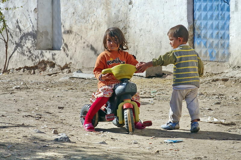 Poor children in a village from Turkey. Poor children on a street in a village from Turkey royalty free stock images