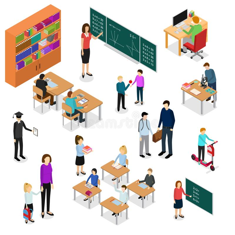 Children Student and Teacher Education Concept 3d Isometric View. Vector stock illustration
