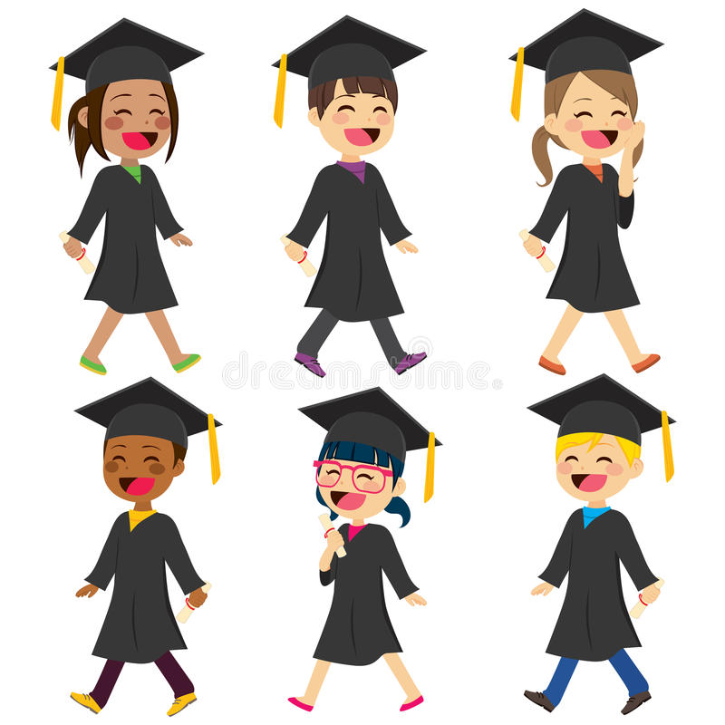 Children Students Gown. Diverse cute children students with gown and diploma walking happy stock illustration