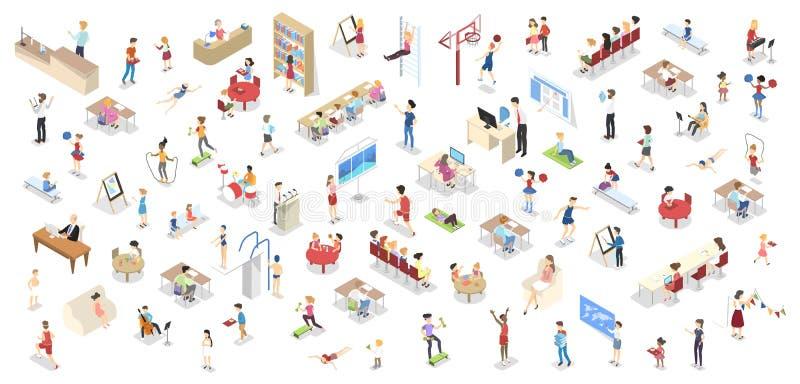 Children study in the school set isometric vector illustration