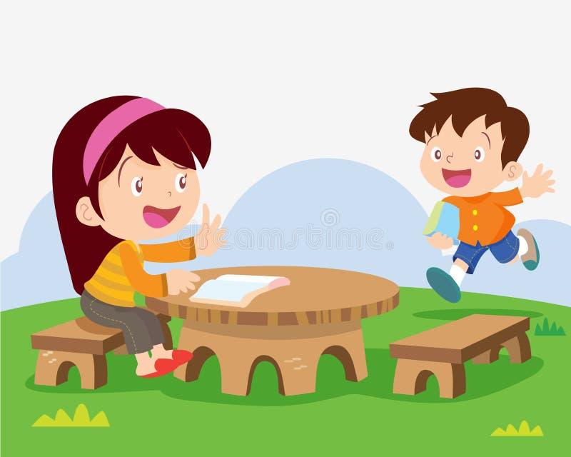 Children studying outside classroom stock illustration