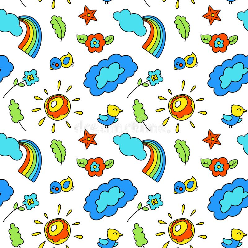 Children style vector seamless pattern with cloud rainbow sun. Playful wallpaper swatch. Kid birthday wrapping paper royalty free illustration