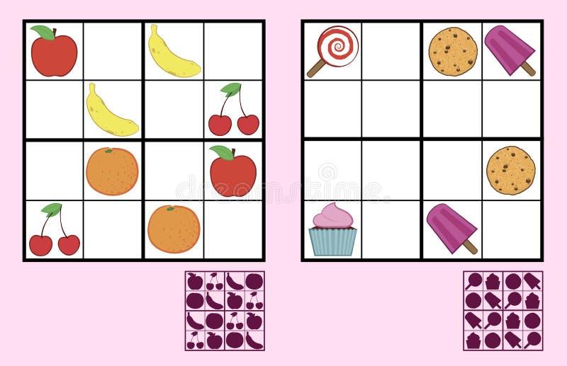 Children sudoku łamigłówka z cukierki owoc i dokrętkami ilustracji
