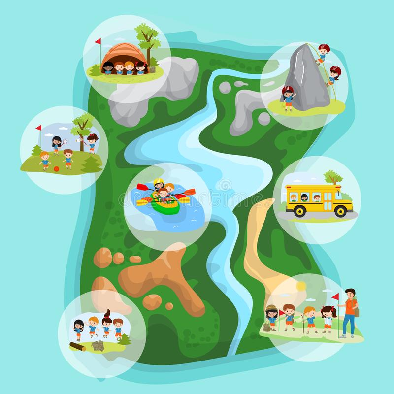 Children summer camp concept with camping, kids in tent, climbing on mountains, floating in boats, jumping, play in stock illustration