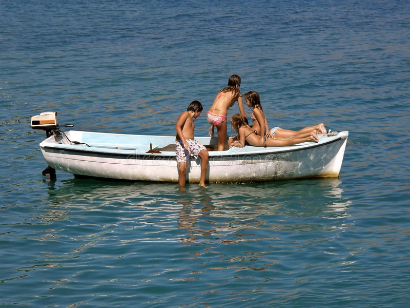 Download Children In Summer Fun On Boat In Sea 1 Stock Image - Image: 12424463