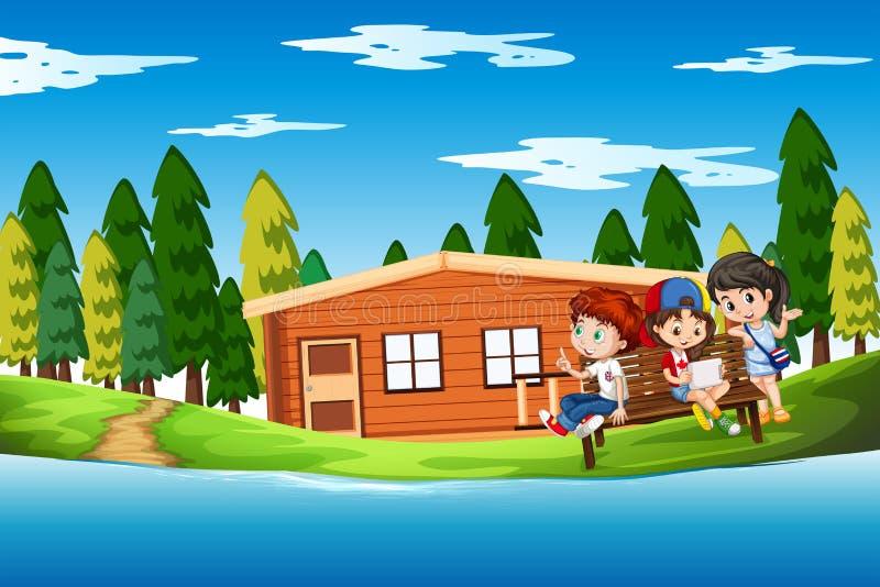 Children at the summer house. Illustration stock illustration